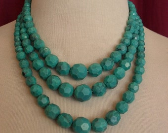 1960s Turquoise Triple Strand Necklace (2781)