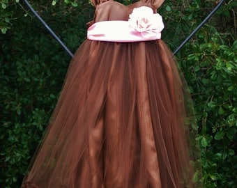 Chocolate satin dress with pink 4-inch wide satin sash and large ivory  silk rose for your anytime of year event.