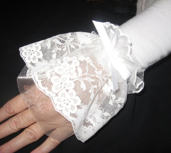 Romantic lace and organza elasticized wristlets (cuffs) to add something beautiful to your hands with or without long sleeves.