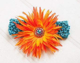 Orange Flower Clip Hot Pink and Turquoise Rhinestone Center Turquoise Crochet Headband