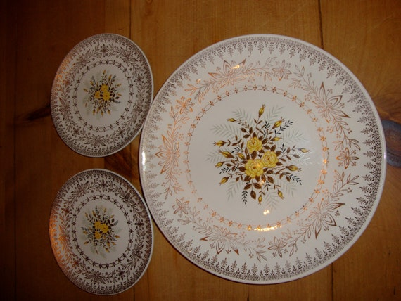 Vintage Trio Cunningham and Pickett, Yellow Rose Dinner Plate and 2 Bread Plates