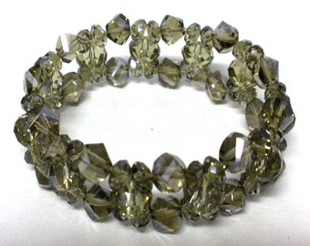 Crystal bracelet charcoal gray 7mm 5mm and 3mm crystals on stretchy cord