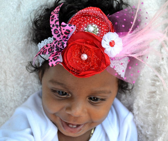 Couture Baby Girl Headband, Girl's Christmas Vintage Headband, Infant Red Headband, Baby Girl Lace Headband,Tutu Matching Headband