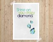 Shine On Digital Art Print 5x7 Typography Poster Inspirational Motivational Geometric Gem Crystal Texture Celadon Teal Blue Turquoise
