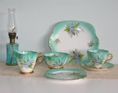 Windsor Turquoise Green Bone China Tea Set