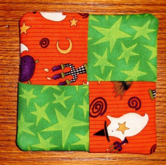 Halloween Coasters - Set of Four - Reversible - ON SALE
