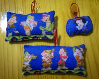 Snow White & the 7 Dwarfs Pillow Ornaments - Set of 3