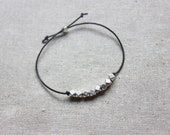 Leather and Geometric Silver Bead Bracelet