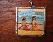 soldered glass pendant, vintage post card (from early 1900's), beach, girls, sand, sun, ocean