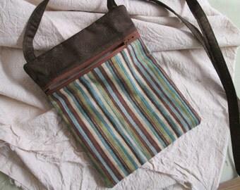 "small, light weight cotton purse, crossbody bag, ""run around bag"""