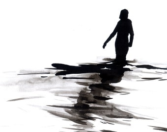"""Figure Fine Art Ink Drawing, """"Immersion No. 25"""""""