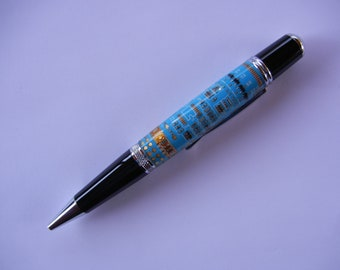 Light Blue Computer Circuit Board Pen with Chrome