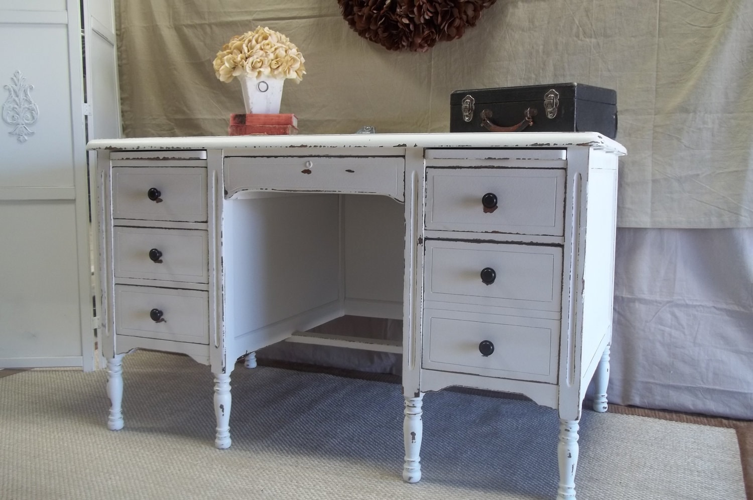 Vintage Shabby Distressed Office Desk