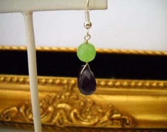 Green Agate, Amethyst Briolette Earring