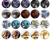 DRAGONS -1,5 inch rounds graphics for scrapbooking, stickers, magnets, Digital collage sheet, 30 Round Images File 8,5x11