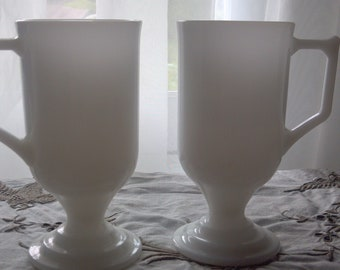 Pair of Milk Glass Latte Cups