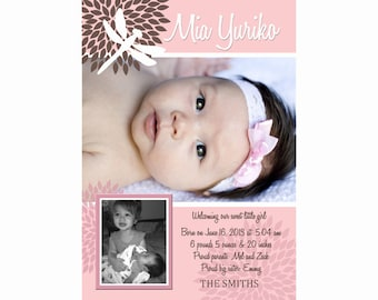 Dragonfly, Baby Girl, Announcement, Sibling, Photo, Printable