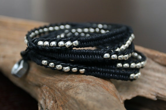 Black Leather, Waxed Linen & Silver Beaded Wrap Bracelet with Hex Nut