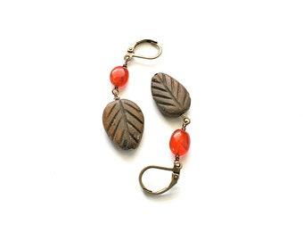 """SALE-Leaf Earrings, """"Autumn Leaf"""" Earrings-WAS 12 NOW 9"""