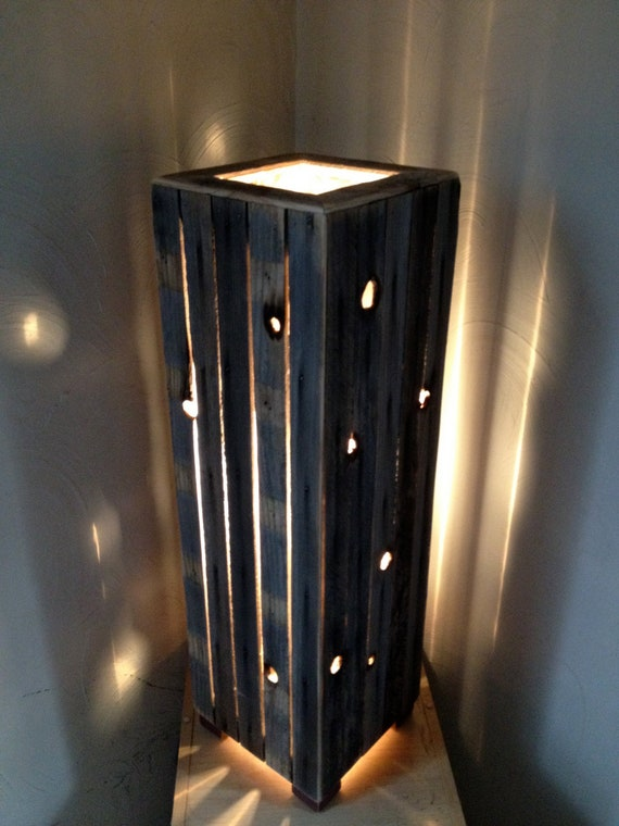 Items similar to hand crafted rustic reclaimed wood lamp for Crafting wooden lamps