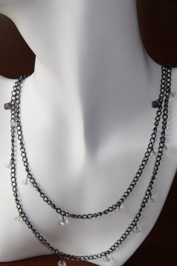 Wrap Anklet, Bracelet, Necklace All in One, Gunmetal plated chain with crystal and purple glass beads and toggle and bar clasp