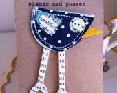 Navy Blue Spotty Fabric Bird Brooch Pin