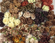 175 Mixed  Brown Earthy Roses Mulberry Paper Flowers Scrapbook Craft Wedding MS- Set 4