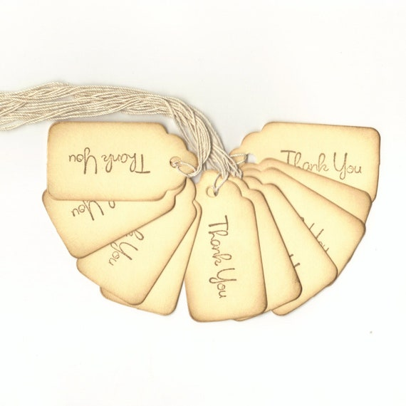 Wedding Favor Vintage Look Thank You Scallop Top Hang Tags  (20) Shower, Decoration, Favor Bag Tags, DIY Tags, Place Cards, Escort Cards