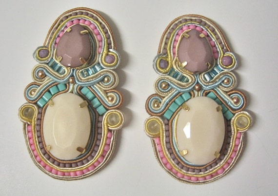 MACAROONS pastel soutache earrings in ivory, taupe, pink, lavender, blue and turquoise