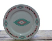 Pink and Turquoise Southwestern Plate & Bowl Set by Meiwa Table Art