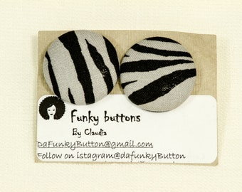 Black and Gray Zebra Buttons