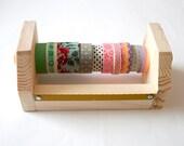 Tape Dispenser, Mini, Little, Washi Tape, Organizer, Wooden Tape Dispenser, Natural Wood