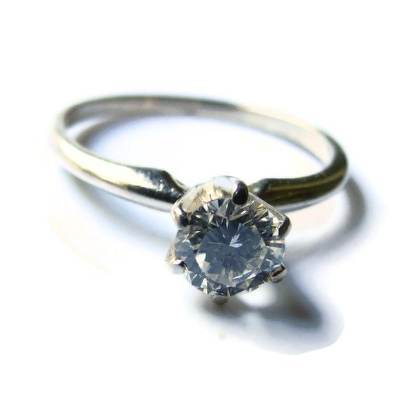 Engagement Ring, Antique Diamond & White Gold Vintage Wedding Ring, Size 6