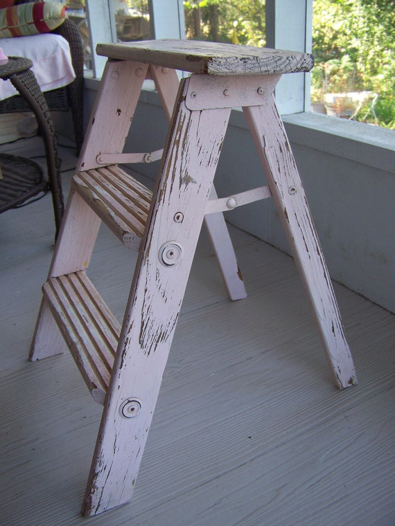 Vintage Pink Step Ladder Shabby Chic Chippy Paint Very