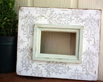 heirloom white & metallic silver damask distressed 4x6 frame with sea salt trim
