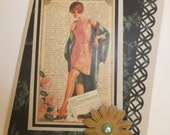 handcrafted Vintage Woman in Lingerie Birthday Card