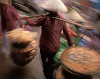 """Going To The Market: Hoi An, Vietnam/ Fine Art Print from HarmonyWishes Collection/ 6"""" x 9"""" image on 8.5"""" x 11"""" paper"""