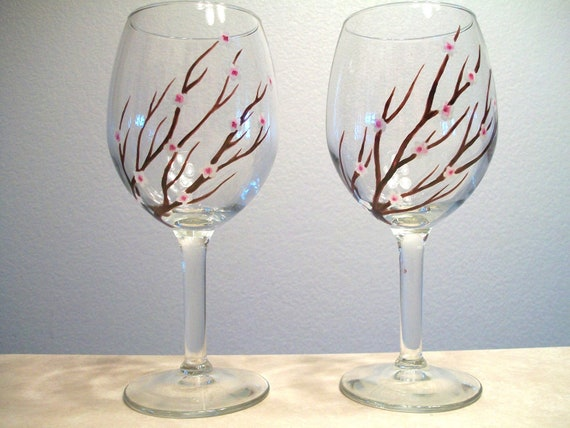 Cherry Blossom Wine Glasses Hand Painted Set of 2