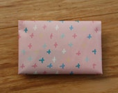 Pink Multicolour Plus Sign/Cross Envelope Card Holder Wallet