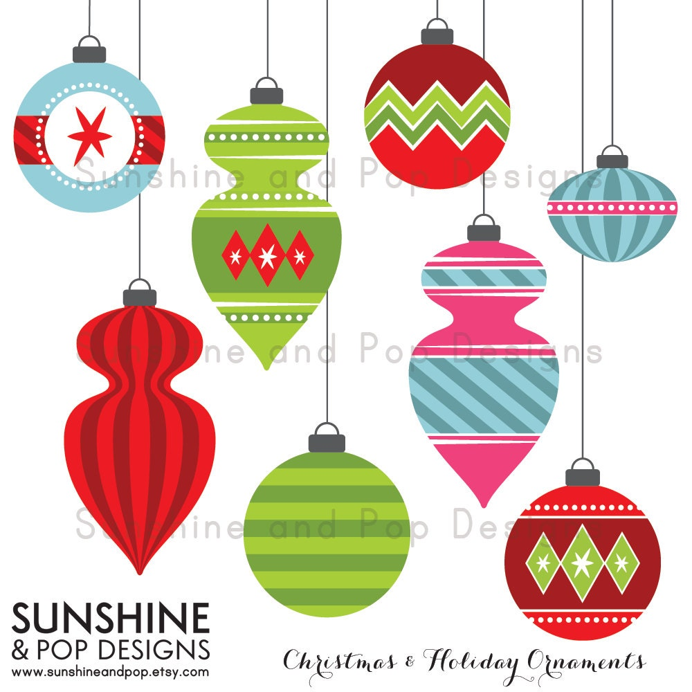Like this item Vintage Christmas Ornaments Clipart