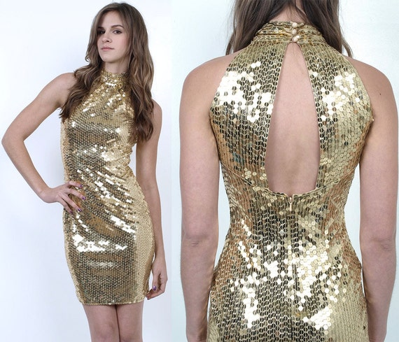 SALE 80's Gold SEQUINS Beaded Body Con CUT Out Backless Cocktail Mini Dress xs/s