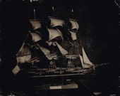 Tintype of Model Ship 4x5""