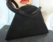 VINTAGE BLACK CREPE black evening antique purse with rhinestone and pearl clasp