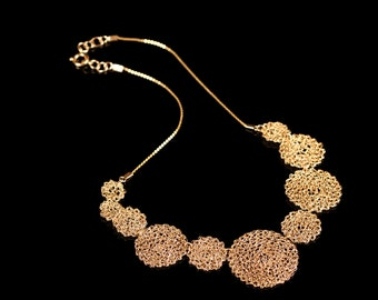 The Life Necklace- Crochet Gold filled 14K.  Lightweight Jewelry,  Statement Necklace