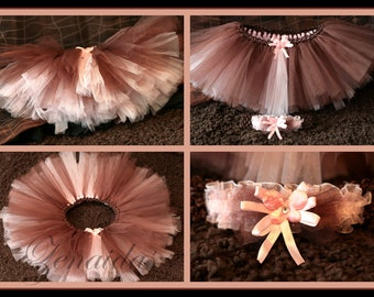 Brown and Pink Tutu and Headband for Baby