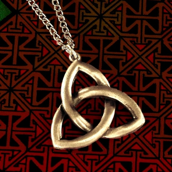 Celtic Sterling Silver Woven Knotwork Pendant Large Trinity Knot CP-1