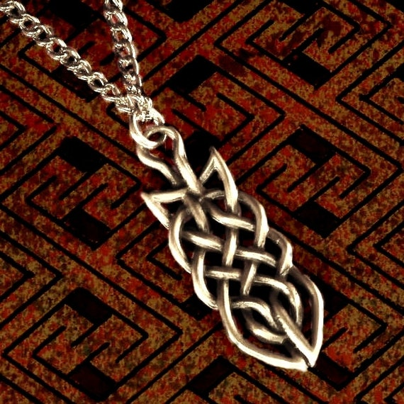 Celtic Knot Woven Irish Sterling Silver Pendant with Chain or Leather Cord CP-68