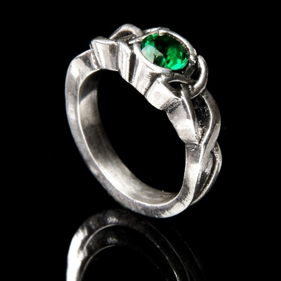 celtic emerald engagement ring with knot by