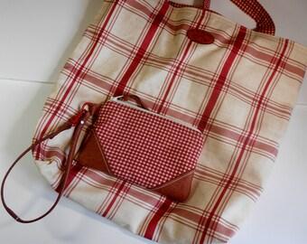 Red plaid tote bag,  shoulder bag, market bag, with wristlet, everyday or travel shopper.