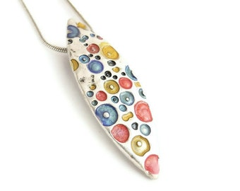 Small red necklace silver blue enamel pendant yellow silver necklace colorful  jewelry silver enamel necklace silver teardrop